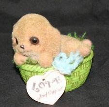 Vintage Josef Originals Figurine Fuzzy Puppy, Dog In A Basket