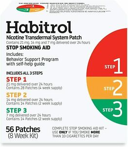 Habitrol Nicotine Transdermal System Patch | Stop Smoking Aid | Steps 1, 2,...