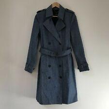 Derek Lam Womens Linen Blue Belted Denim Trench Coat, Size 44 / UK AU 12