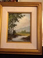 """Lovely Vintage Landscape Painting On Wood  17"""" H X 15"""" W"""