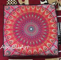 "35"" Large Square Floor Cushion Pillow Cover Mandala Cotton Room Decorative Throw"