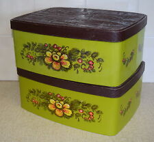 RETRO Set of 2 large WILLOW CAKE TINS / CANISTERS Green with Brown Lids Vintage