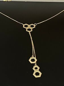 """Solid 14K Yellow Gold Honeycomb Dangle Drop Lariat Adjustable Chain Necklace-18"""""""