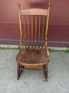 Large Antique Ash Wood Rocker Rocking Chair American Restored