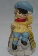 Bell-Collectible- Merri-Bell-1978 -Jasco Boy On Rock- Bisque Porcelain Bells