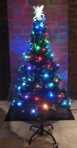 Christmas Tree w/ Bright Colorful Blinking Fiber Optic Lights - 4ft Tall - New