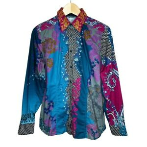 Etro Italy Paisley Baroque Print Button Up Long Sleeve Shirt Size 46 / US 10