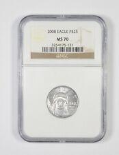 MS70 2008 $25.00 1/4 Oz. Platinum American Eagle - Graded NGC *411