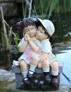 Garden Ornament Large Cherub Ceramic Figure antique little Girl & Boy