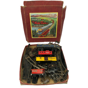 RARE Tin Train Set Vintage Model Trains +Tracks in Box Made in Japan (Untested)