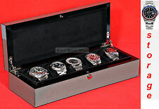 Luxury Carbon Fibre Look Watch Storage Box for five watches-model:Watchpro5-CF