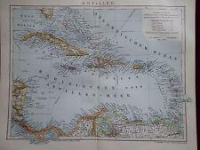 Mapa Antillas, Cuba, Puerto Rico, Dom. Rep., Brockhaus 1901