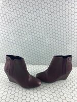 Kenneth Cole Reaction Burgundy Leather Side Zip Wedged Ankle Boots Women's 7.5