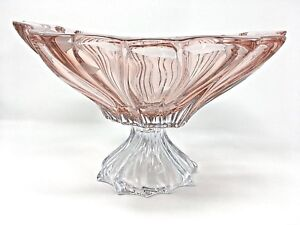 """Crystal Glass Footed  Bowl 12 """" Sweets Fruits Candy Pink color Bohemian Crystal"""
