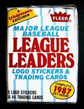 1987 Fleer Walgreens Exclusive MLB LEAGUE LEADERS (44) Card Set+ (6) Stickers