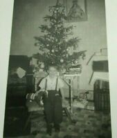 1940s Vintage Photo Christmas Tree Little Boy Horse Toys mb341
