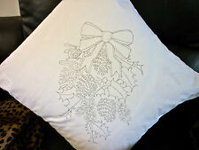 NATALE GHIRLANDA Freestyle ricamo stampato Copricuscino embroider cso103