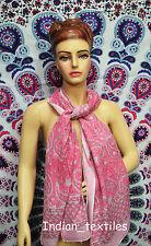 Indian Fashion Women Long Block Print Cotton Scarf Wrap Sarong Shawl Large Art54