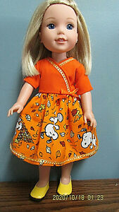 """Blowing Fall Leaves Dress Set made to fit  14.5"""" Wellie Wishers dolls  4+"""