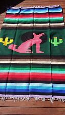 "Mexican Molina Throw Blanket Coyote Design 79"" x 54"" Woven Green Pink Striped"