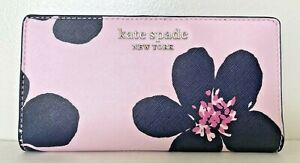 New Kate Spade Cameron Grand Flora Large Slim Bifold wallet Serendipity Pink