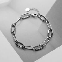 Retro Woman Real s925 Sterling Silver Rolo Link Rope Chain Bracelet Bangle