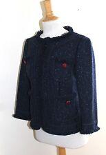 Moschino Cheap & Chic ~ 10 Navy Blue Tweed Fringed Cropped Pocket Jacket Blazer