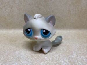 Littlest Pet Shop LPS #53 Tabby Cat White With Blue Eyes Preowned