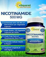 Nicotinamide 500mg W/Resveratrol Support Anti Aging DNA Repair Skin Cell 120ct