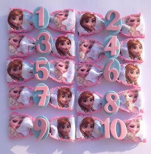 Frozen Anna Elsa Birthday Badge Age Number Hair Bow Ribbon Bobble Clip Badge