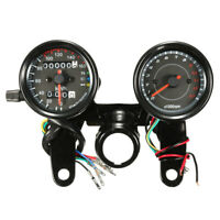 Universal Motorcycle Odometer & Tachometer Speedometer Gauge Meter LED Light +