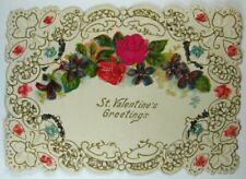 Victorian Die Cut, Embossed & Glitter Decorated St Valentine's Greetings - Roses