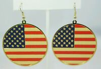 """American Flag Gold Earrings 1.75"""" Circle  Red White Blue Dangle Plated"""