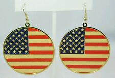 """Blue Dangle Gold Plated Earrings American Flag 1.75"""" Circle Red White"""