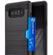 Samsung Galaxy Note 8 - HARD HYBRID CREDIT CARD ID SLOT ARMOR CASE COVER BLACK
