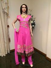 "44"" XL Salwar Kameez Bollywood Indian Cotton Fancy Dress EID Purple Pink Gold"