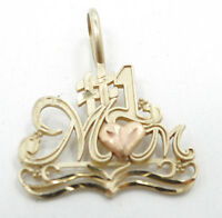 14K Yellow & Rose Gold #1 Heart Mom Charm Pendant A387