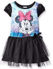 Disney Girls' Minnie Wonderland Penne Dress, Black, Size 5
