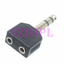 "2pcs Adapter 6.35mm 1/4"" plug pin to 2x 3.5mm 1/8"" jack stereo Y Splitter Audio"