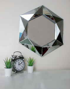 Large Bevelled Silver Wall Hanging Mirror Modern Unique Home Decor Jewel Cut