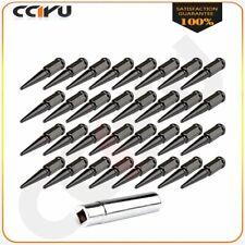 32 x M14 x 1.5 Black Solid Spike Lug Nuts New Fits Chevrolet Silverado+1 Key
