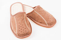 Men`s Suede Leather Slippers 100% Natural Leather Size UK 6,7,8,9,10,11,12 Brown