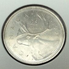 1991 Canada 25 Cents Quarter Uncirculated Canadian Coin Not In Case B968