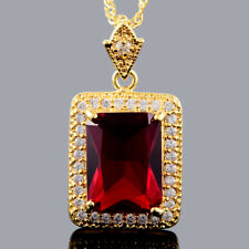 Xmas Pear Cut Teardrop Red Ruby 18K White Gold Plated Pendant Necklace Chain
