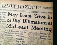TEHRAN CONFERENCE in Iran World War II FDR Churchill & Stalin 1943 Old Newspaper