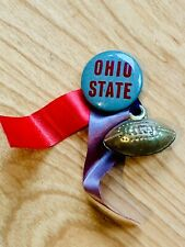 Vintage 1940s-50s Ohio State Buckeyes Football Pin Button w/ Ribbons and Charm