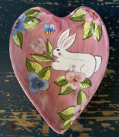 Vintage Laurie Gates Hand Painted Heart Shaped Bunny Dish Easter Spring Decor