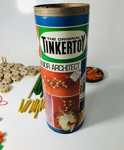 Vintage The Original Tinker Toys Junior Architect No.136 Pat USA 135 Misc. Pcs.