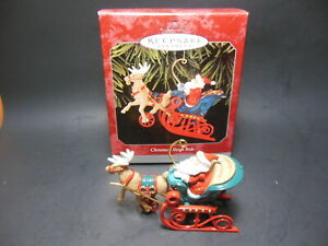 Hallmark Christmas Sleigh Ride Ornament 1998 QX6556 Metal Santa Reindeer