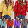 Plus Size Womens Boho V Neck Blouse 3/4 Sleeve Button Summer Casual Tops T-Shirt